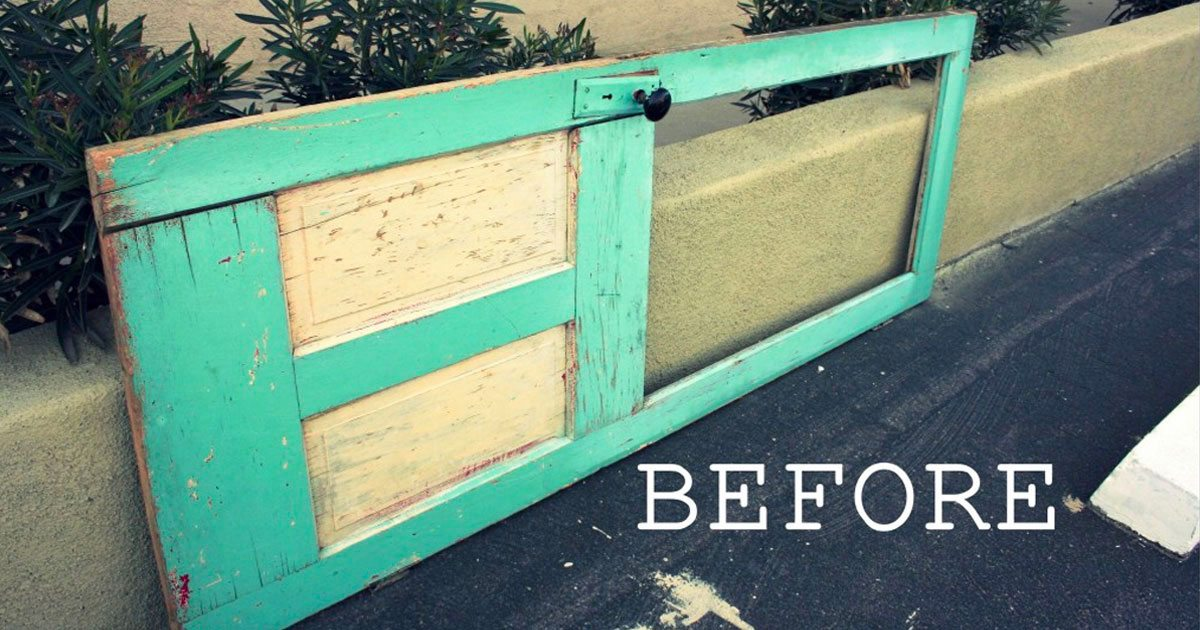 Dad Buys Old Door For $10, Transforms It Into A Gorgeous Piece For ...
